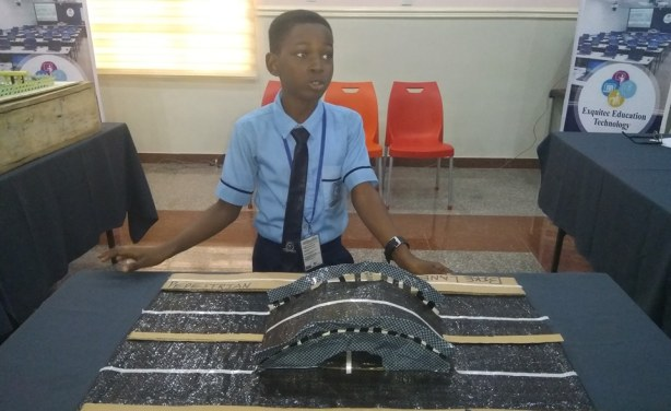 10-year-old Oluwafayokunmi Olurinola who won the Ijebu-Ode Future City Challenge for the plastic road prototype he designed.