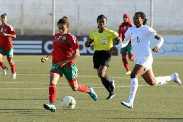 The Moroccan U-20 female side in action against Nigeria